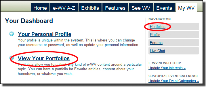 On the My WV tab you can find Portfolios in two different places