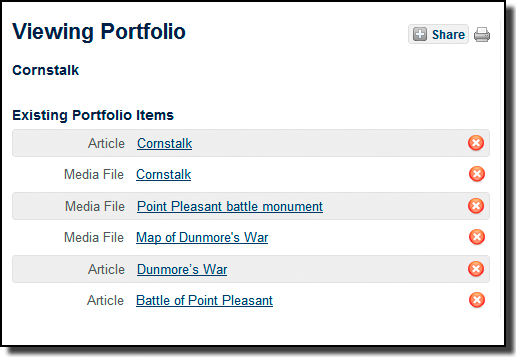 You can view all the items in a portfolio from one screen