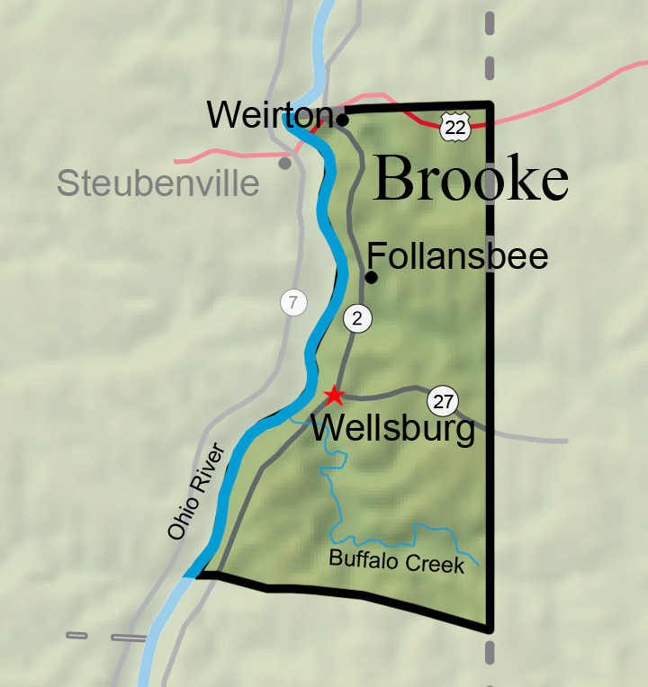 brooke county located in the northern panhandle of west virginia